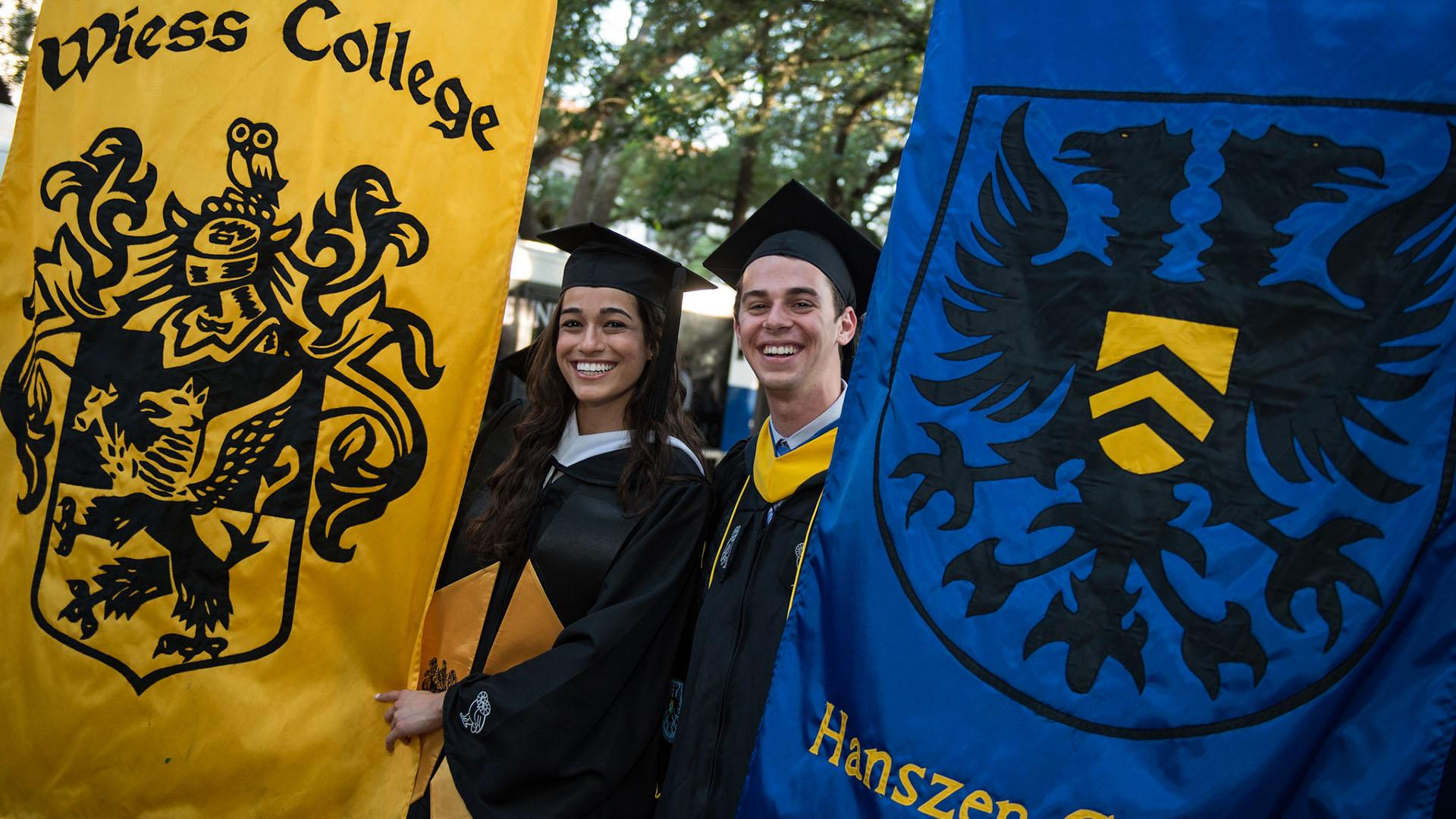 Students with college banners